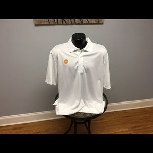 IZOD White L SS Golf Polo Shirt